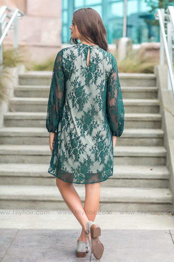 A Real Beauty Hunter Green Lace Dress - Filly Flair