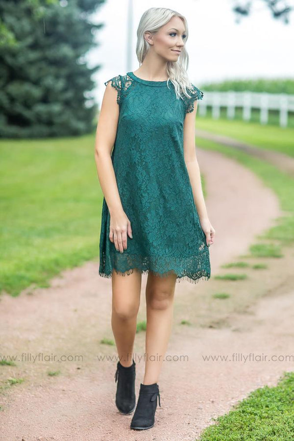Friend of Mine Lace Sleeveless Dress in Hunter Green - Filly Flair