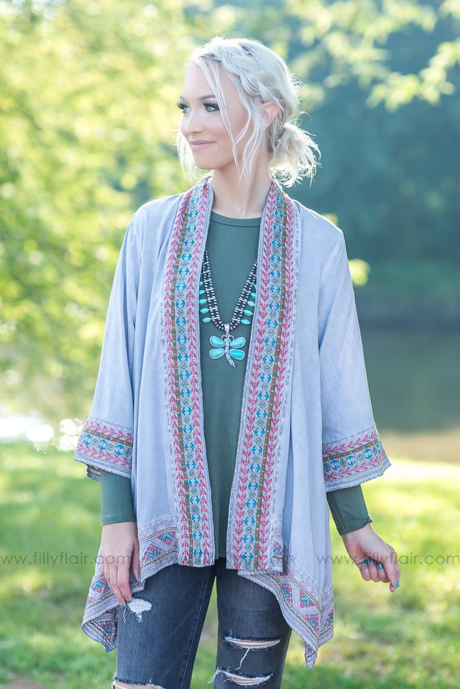 Every Embroidered Dream Aztec Kimono in Charcoal - Filly Flair