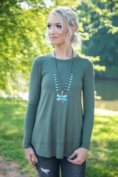 New Day Long Sleeve Top in Olive - Filly Flair