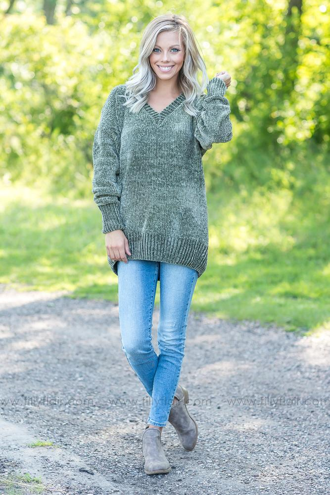 Finally Clear Olive Oversized Sweater - Filly Flair