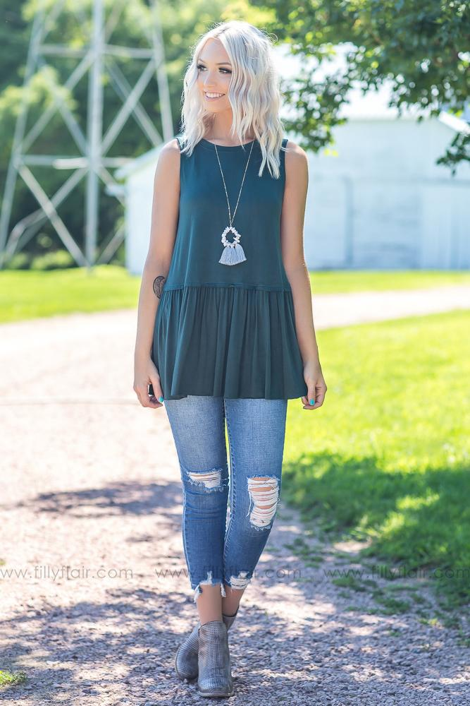 Easy Going Love Sleeveless Top in Hunter Green - Filly Flair
