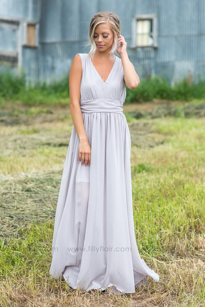 49fad3711a Isabella Bridesmaid Dress In Stone - Filly Flair