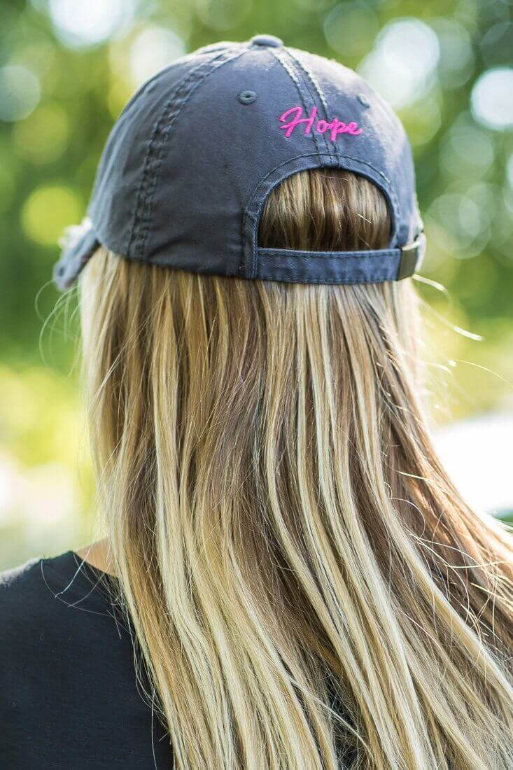 "Grey Pink Breast Cancer Ribbon ""HOPE"" Baseball Hat - Filly Flair"