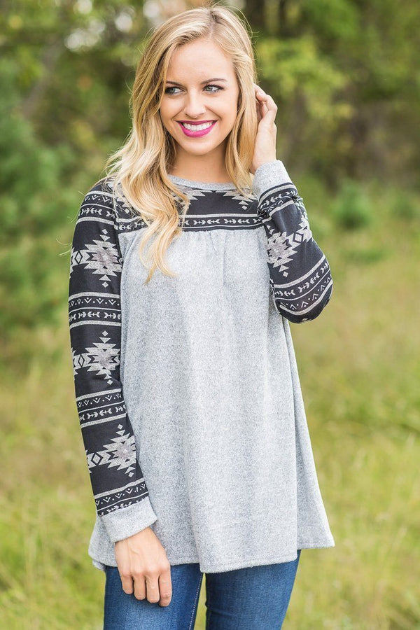 Find me Here Heather Gray Aztec Long Sleeve Top