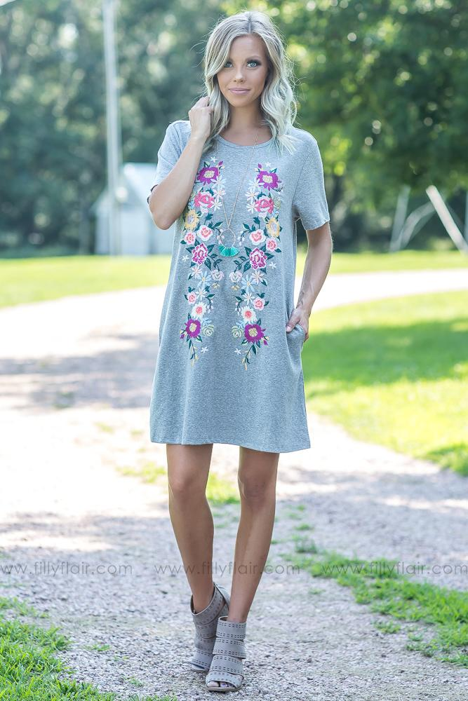 Casual Embroidery Grey Dress - Filly Flair