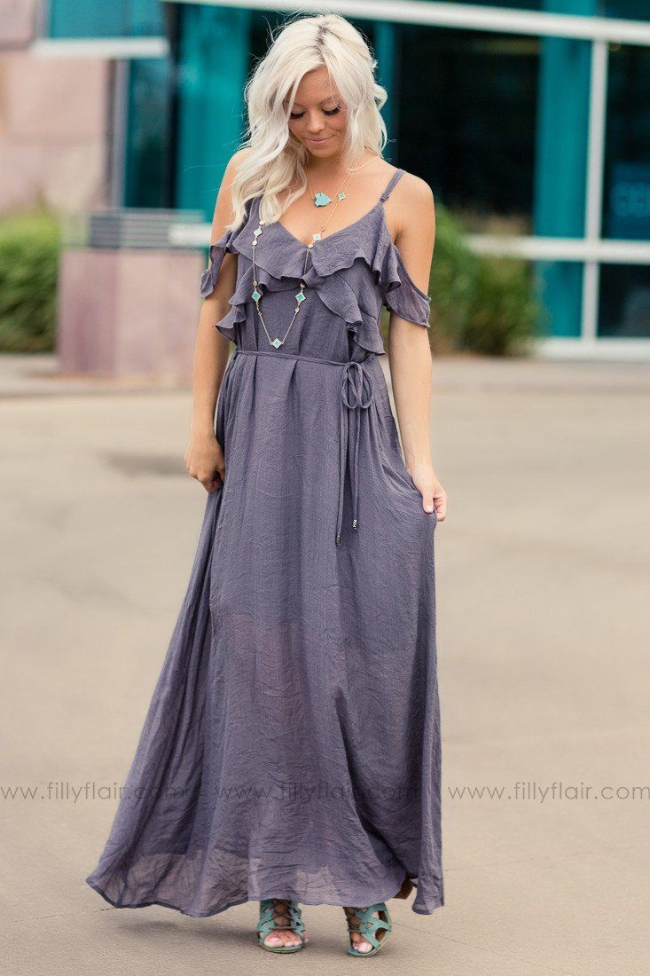Midnight Grey Cold Shoulder Ruffle Detail Maxi Dress