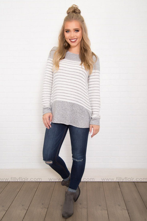 Heather White Color Block Striped Long Sleeve Top