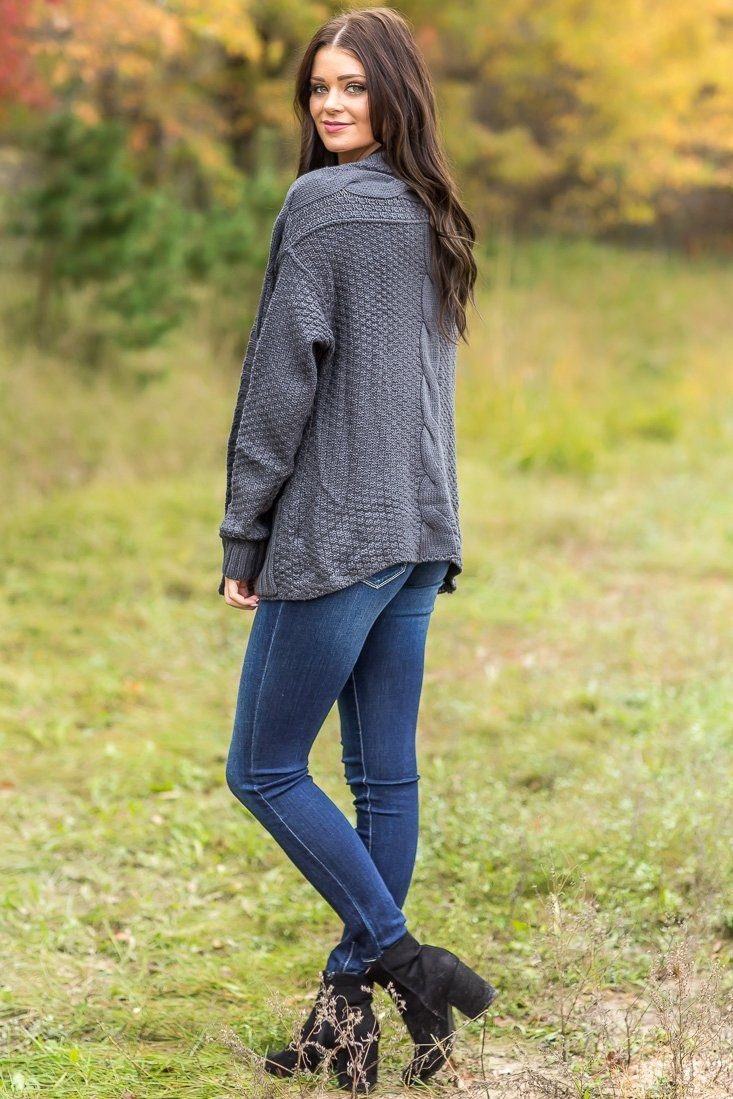 Medallion Long Sleeve Open Sweater in Slate