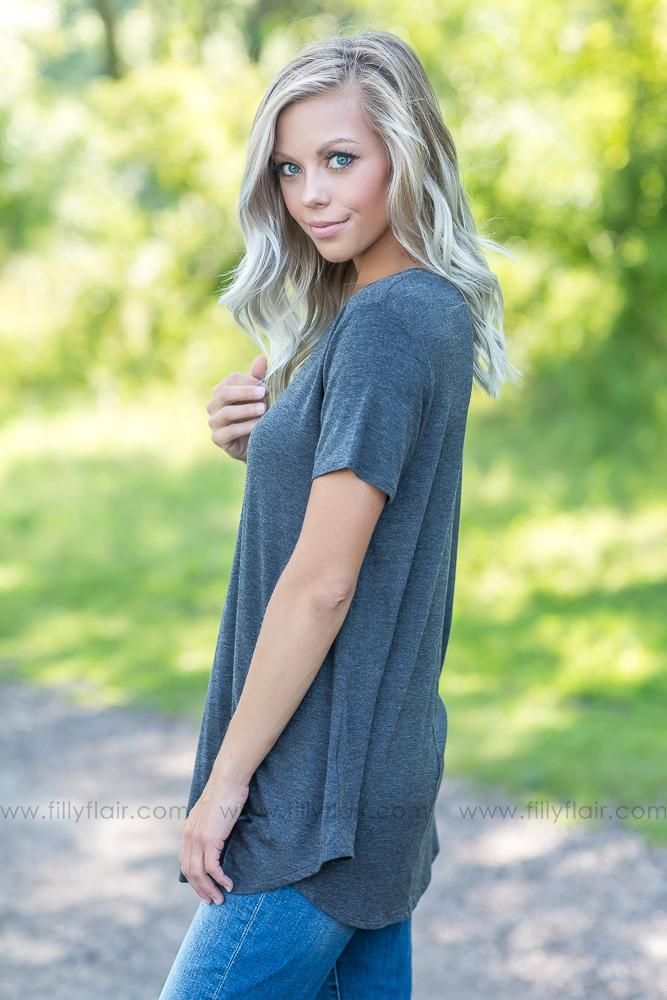 Simple As Can Be Solid Crew Neck Tee in Heathered Charcoal - Filly Flair