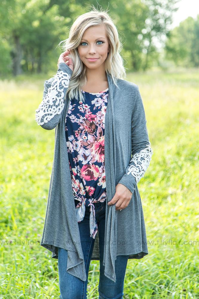 Hold Me Close Charcoal Cardigan with Lace Detailed Sleeve - Filly Flair