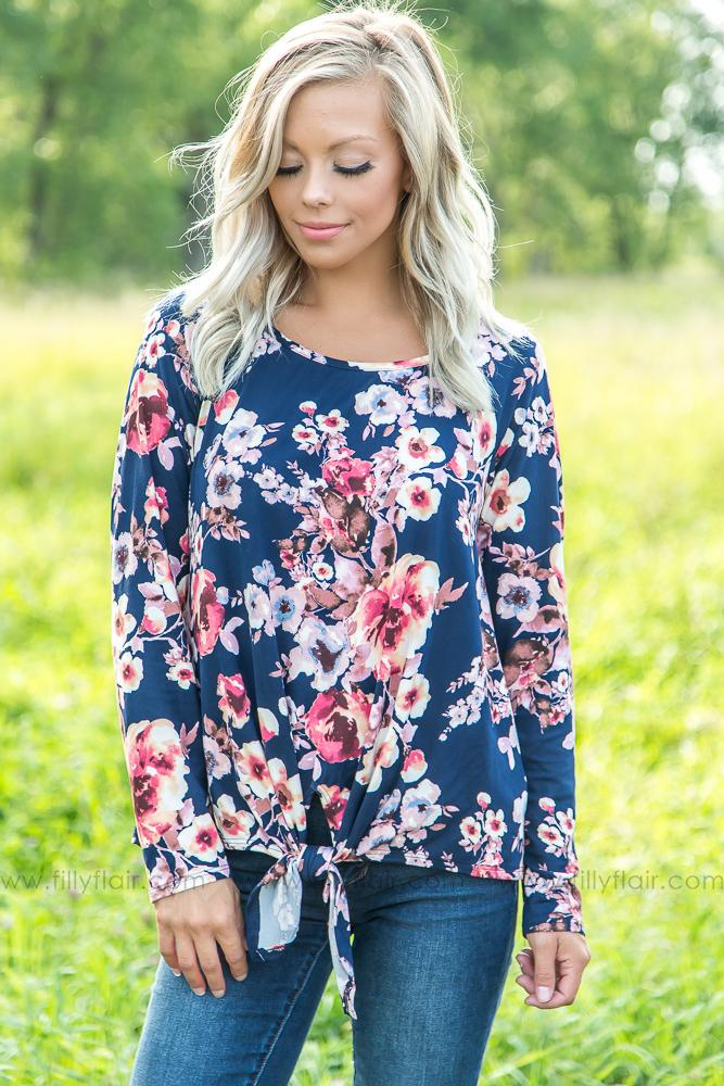 In Your Eyes Long Sleeve Floral Knot Top in Navy - Filly Flair