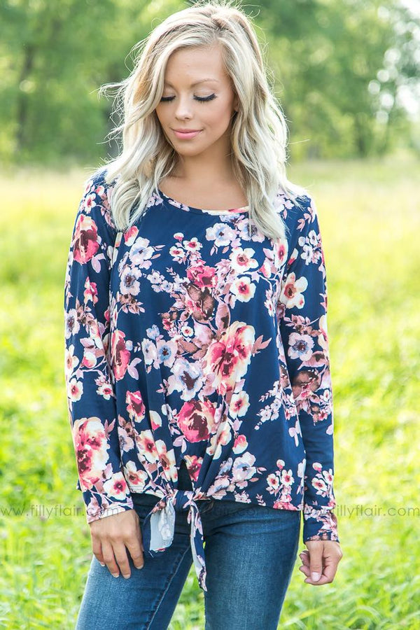 In Your Eyes Long Sleeve Floral Knot Top in Navy