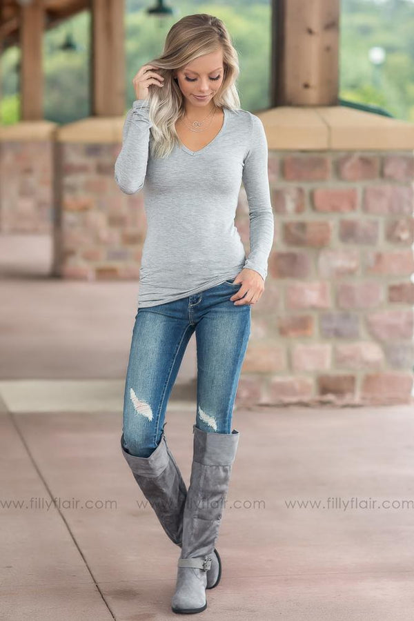 As Simple As That Long Sleeve Basic Top in Grey - Filly Flair
