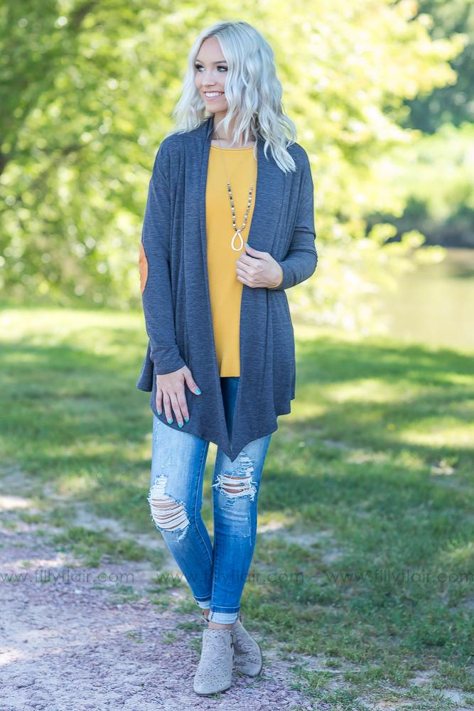 Layer Me Pretty Elbow Patch Waterfall Cardigan in Charcoal - Filly Flair