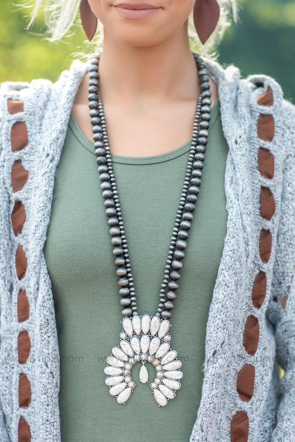 Look at You Naja Squash Blossom Authentic White Turquoise Necklace - Filly Flair