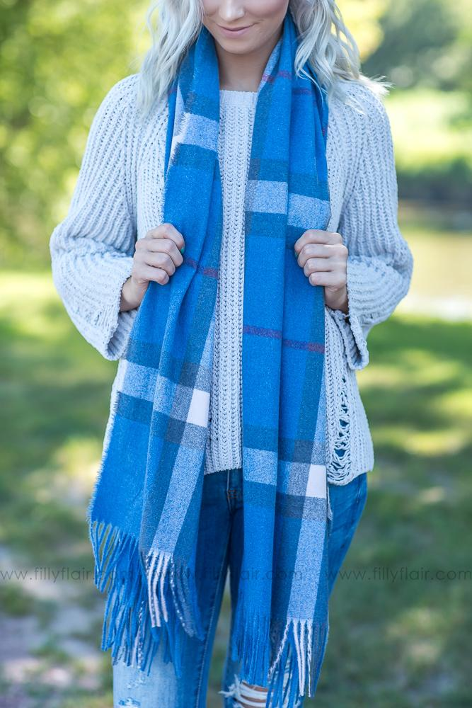 Everyday Warmth Blue Plaid Scarf - Filly Flair