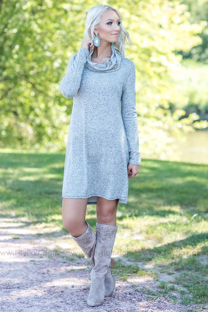 Somebody To Love Button Cowl Neck Dress in Heather Grey - Filly Flair