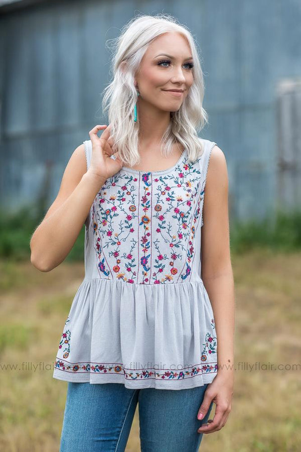 Everyday Beauty Embroidered Floral Top in Grey