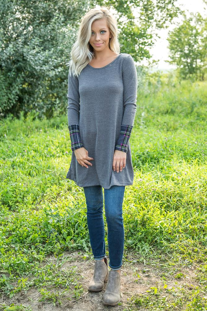 Some Kind of Way Long Sleeve Plaid Tunic Dress in Grey - Filly Flair