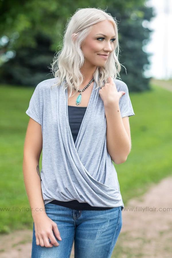 Back to You Wrap Top in Heather Grey - Filly Flair