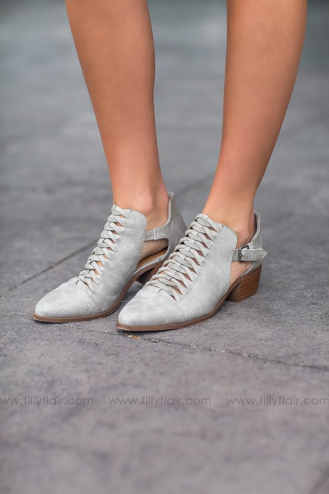Wherever You Go Rager Grey Braided Booties - Filly Flair
