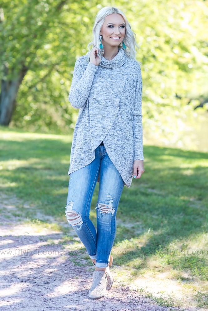 One and Only You Cowl Turtle Neck Layered Top in Heather Grey - Filly Flair