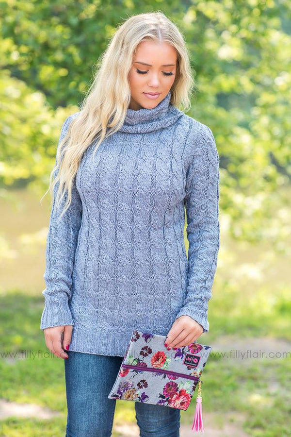 In The Cold Turtle Neck Sweater in Dusty Blue - Filly Flair