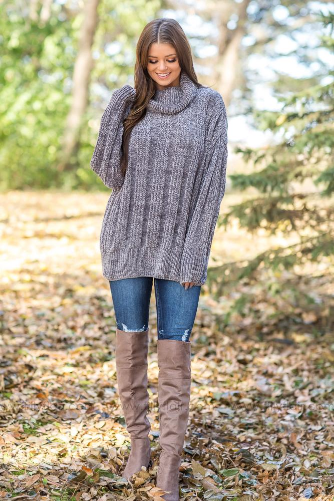 It's Your Love Oversized Turtle Neck Long Sleeve Sweater in Grey - Filly Flair