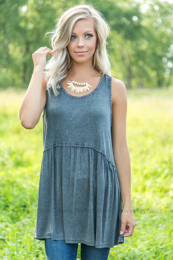 Time of Day Baby Doll Top in Washed Ash