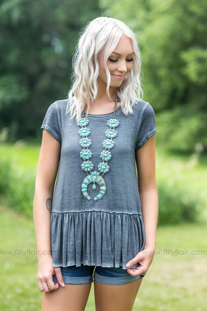 Come a Little Closer Short Sleeve Ruffle Hem Top in Charcoal - Filly Flair