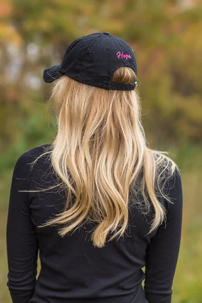 "Pink Breast Cancer Ribbon ""HOPE"" Black Baseball Hat - Filly Flair"