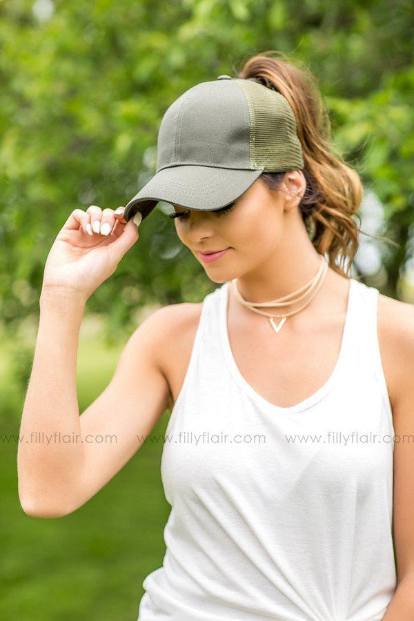 CC Olive Mesh Baseball High Ponytail Cap