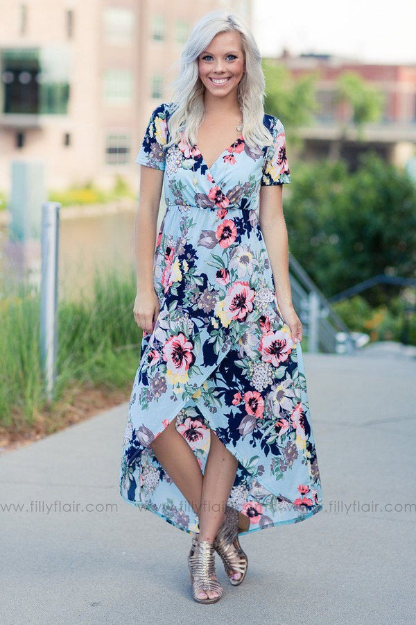 Over Seas Light Blue Floral Printed High-Low Dress
