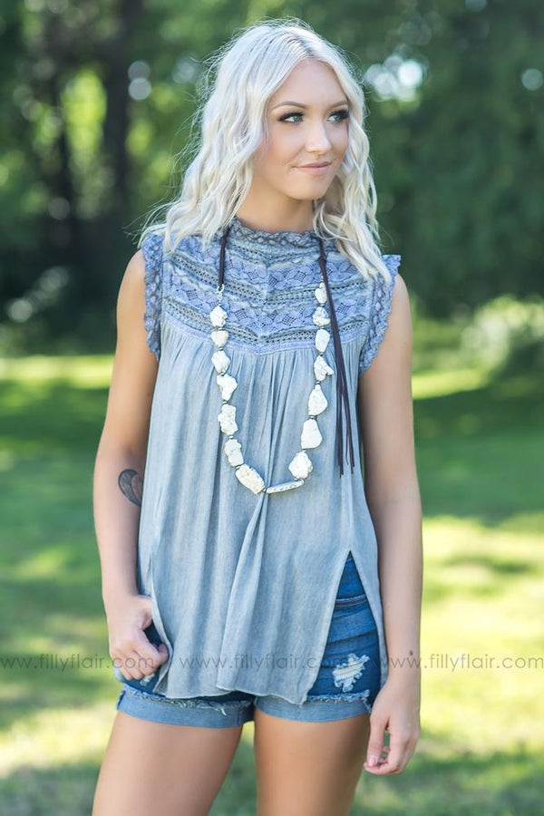 You Make Pretty Beautiful POL Crochet Detail Top in Grey Blue - Filly Flair