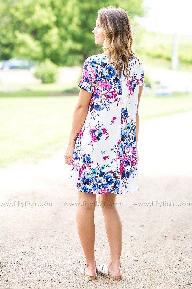 Swing For Fun Floral Shift Dress