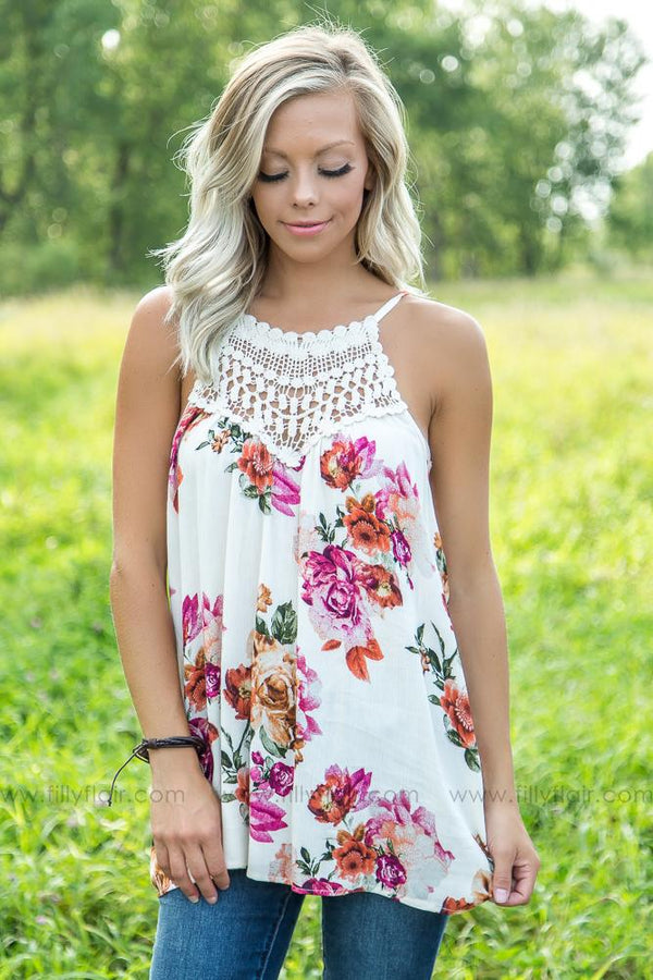 Prettiest Girl Floral Printed Tank Top - Filly Flair