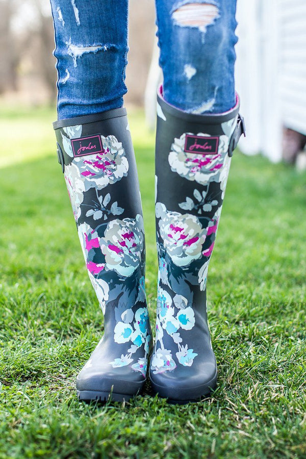Joules Grey Beau Bloom Floral Rain boot
