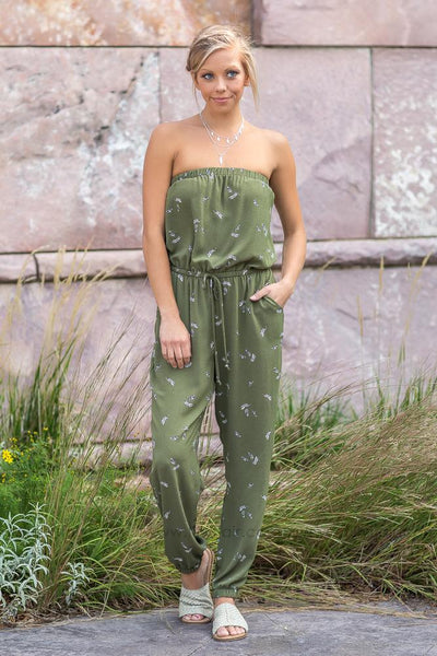 Fly Away Olive Sleeveless Feather Romper - Filly Flair