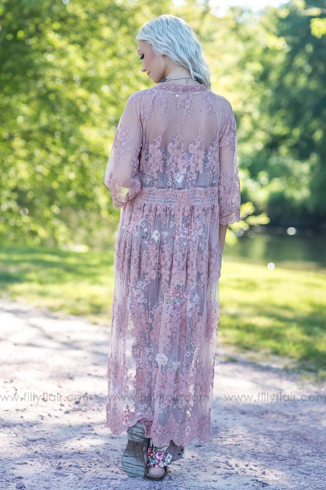 All My Lace Dreams Lace Cardigan in Dusty Pink - Filly Flair