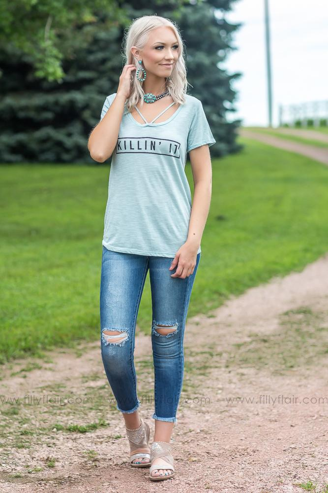 """Killin' It"" Graphic Tee In Sky Blue - Filly Flair"