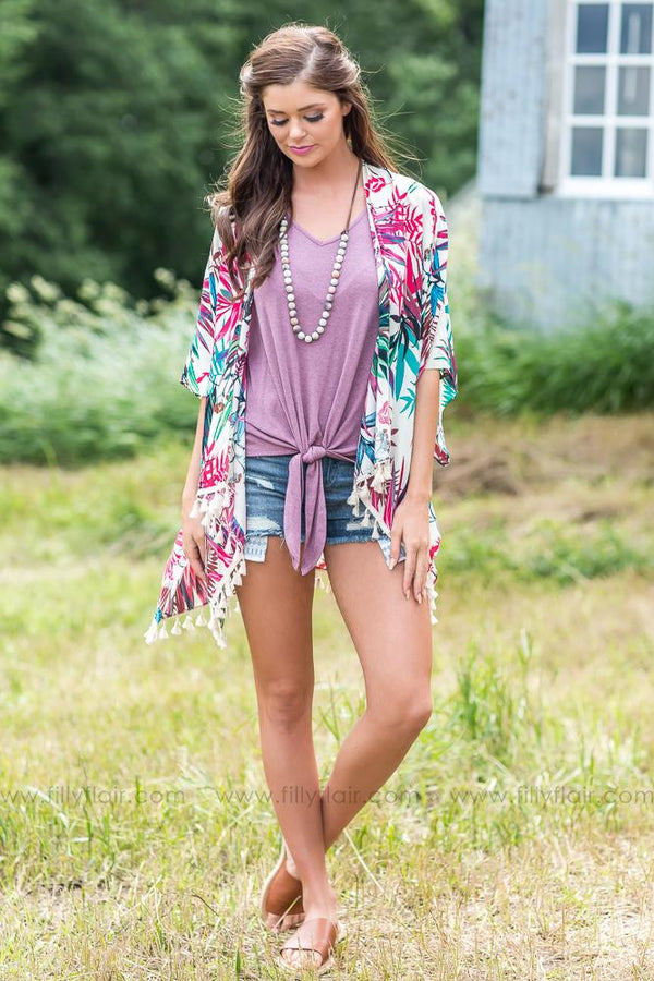 Near The Water Multi Color Leaf Print Tassel Kimono - Filly Flair