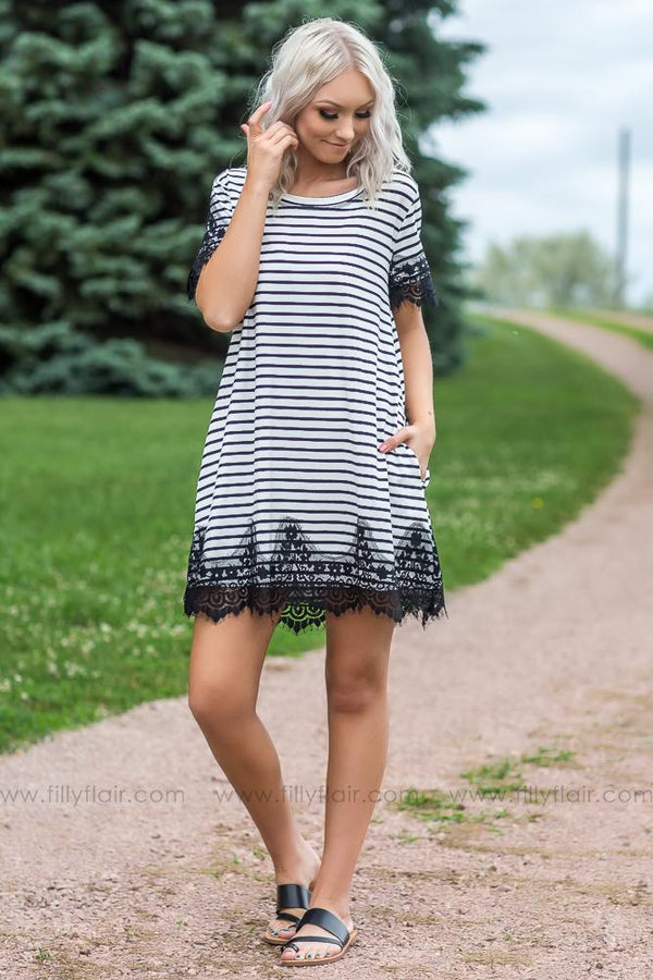 Can't Get Over You Striped Lace Dress In Black White - Filly Flair