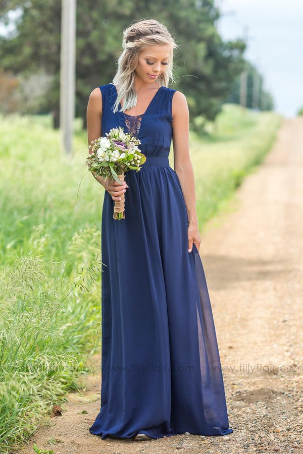 Manda Bridesmaid Dress in Navy Blue - Filly Flair
