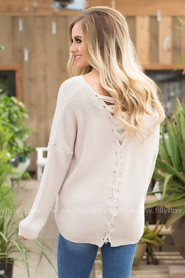 All The Way Lace Up Sweater in Ivory