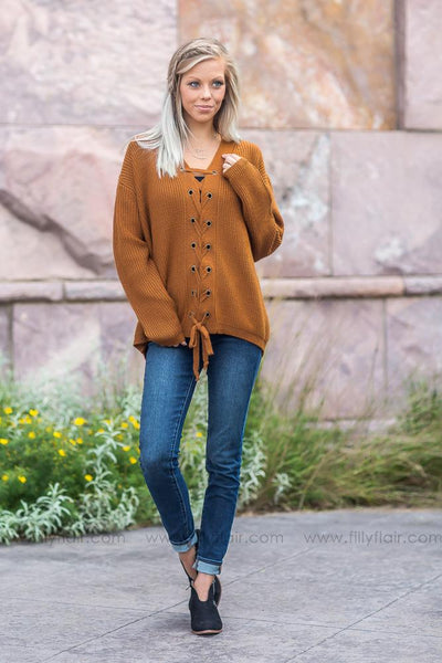 Let's Get Out of Here Lace Up Sweater in Camel - Filly Flair