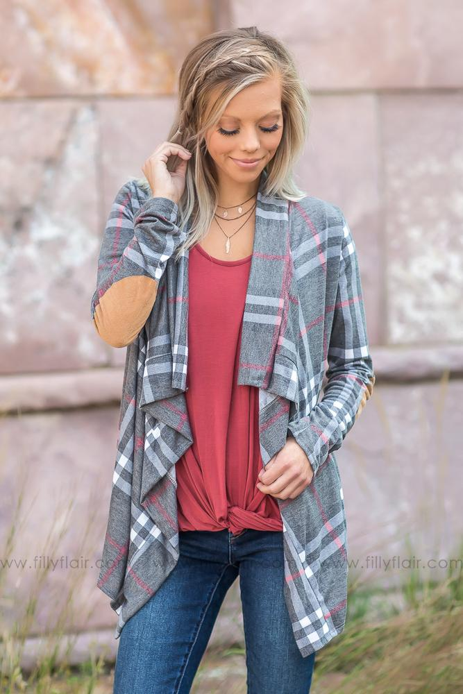 Crushin' It Waterfall Elbow Patch Cardigan In Grey Plaid - Filly Flair