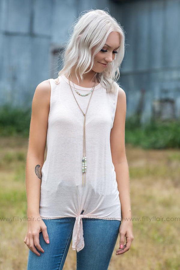 Sweet Summertime Cut Out Shoulder Tie Tank Top in Blush - Filly Flair
