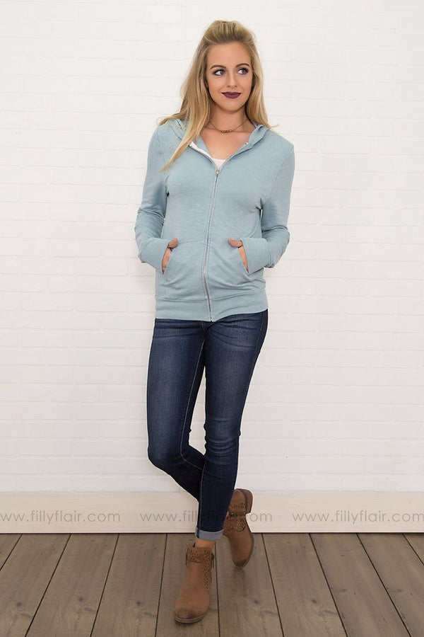 Your Everyday Long Sleeve Zip Up Hoodie in Blue Mist
