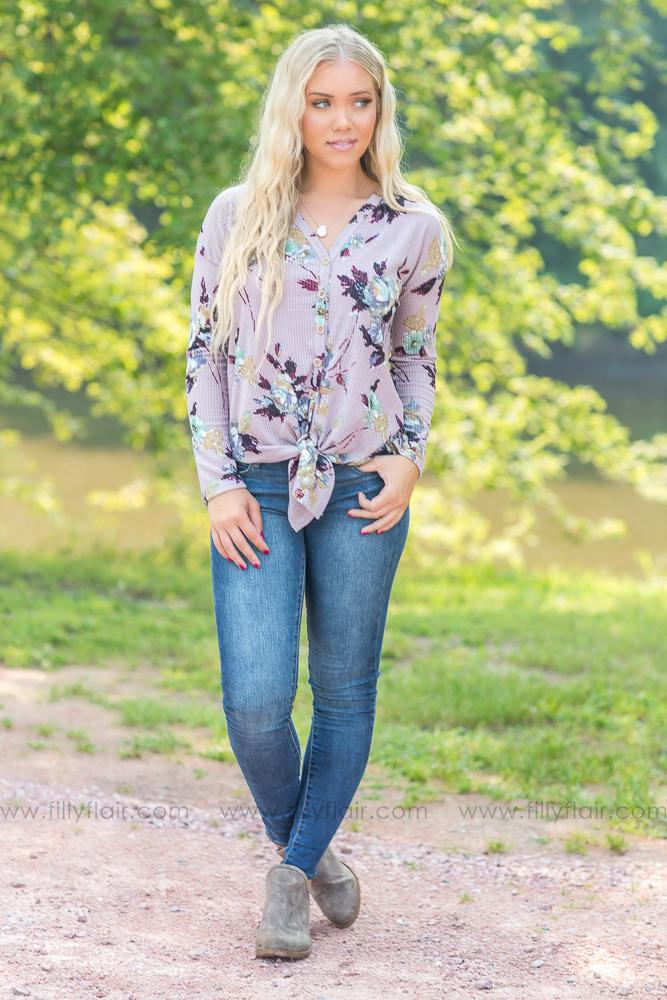 Makes You Happy Floral Thermal Long Sleeve Tie Top in Lilac - Filly Flair